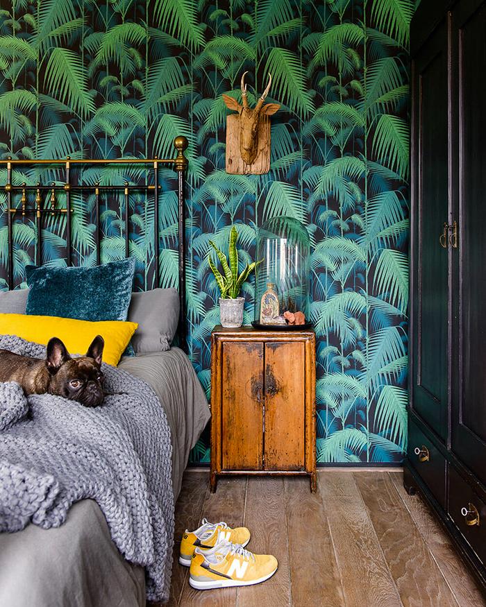tête de lit papier tropical peint inspirations déco