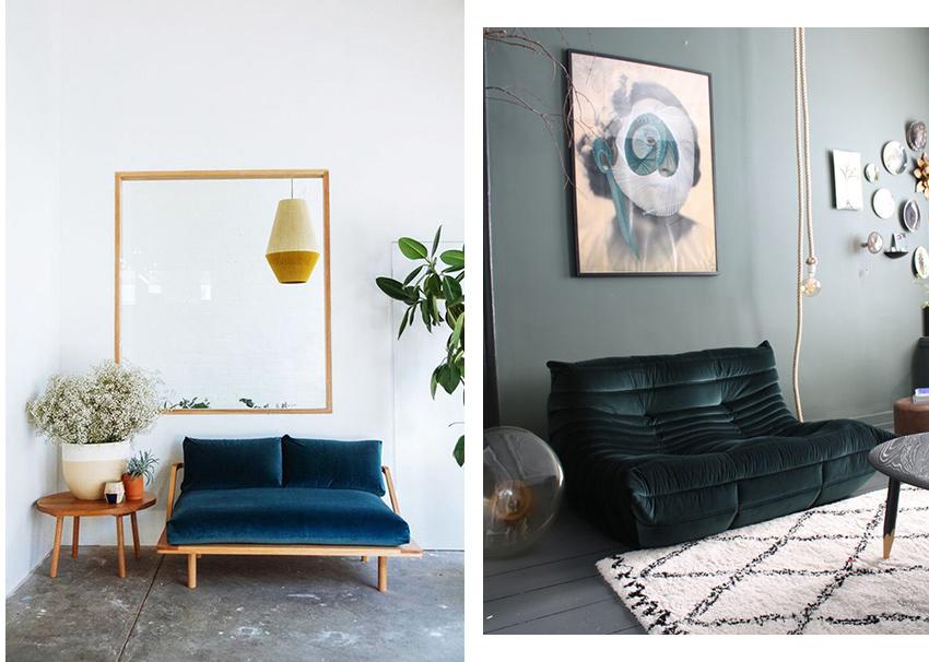 canapé couleurs déco bleu