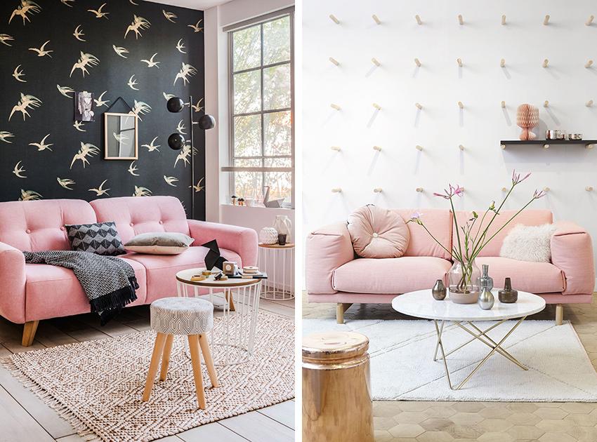 canapé couleurs déco rose