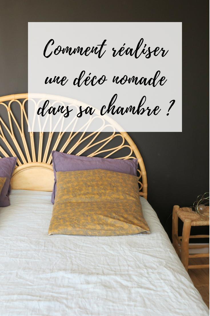 chambre déco nomade tête de lit rotin