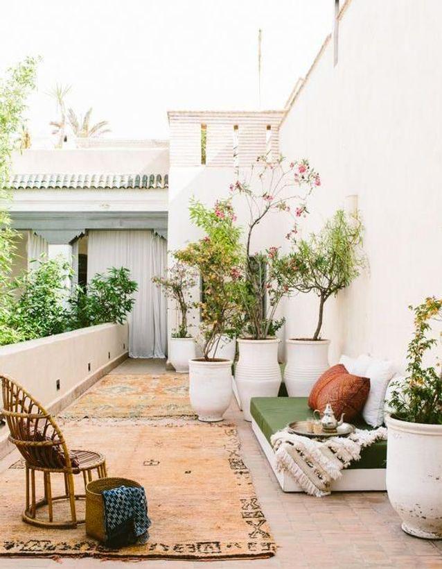 terrasse bohème blanc Méditerranée