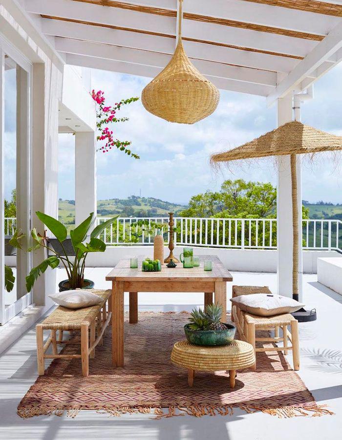 terrasse bohème mobilier rotin