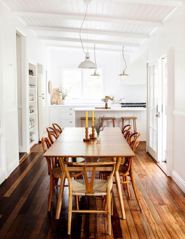 intérieur californien cuisine table bois