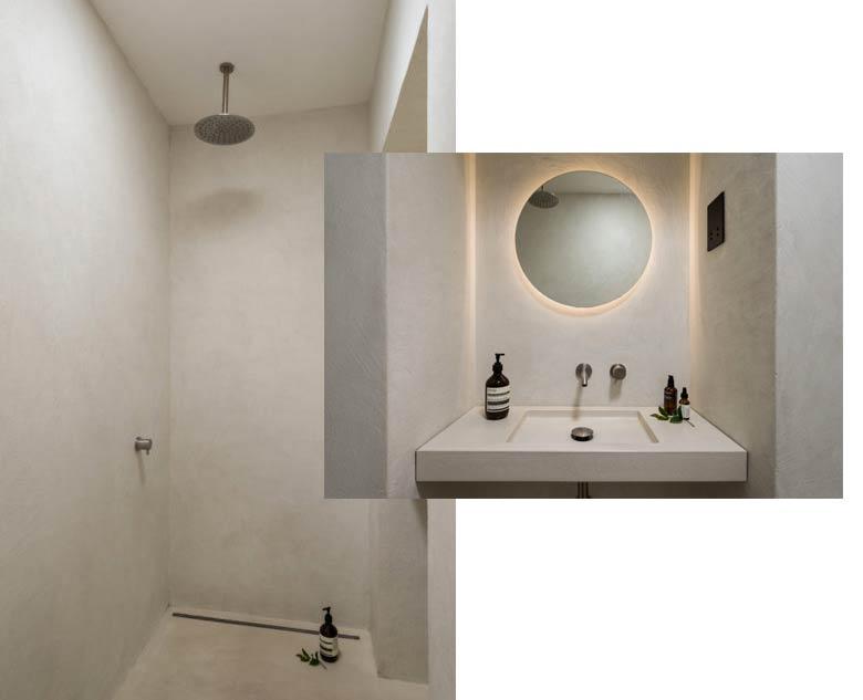 intérieur sur mesure salle de bain béton ciré