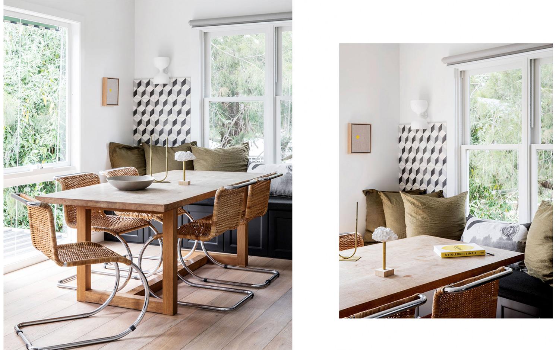 visite privée chaises rotin et banquette cuisine