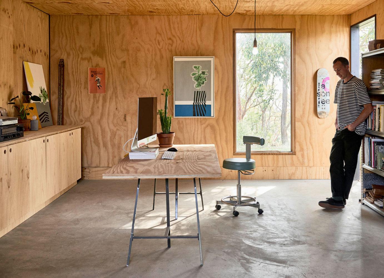 intérieur chaleureux bureau bois